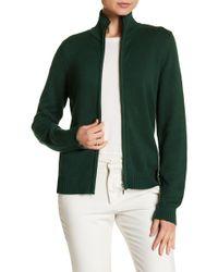 Insight Mock Neck Zip Front Cardigan - Green