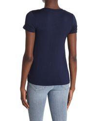 Bobeau Short Sleeve Crisscross Twist Front T-shirt - Blue