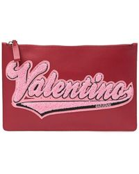 Valentino Leather Flat Pouch - Red
