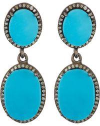 Adornia - Diamond Halo Turquoise Double Drop Earrings - Lyst