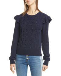 Veronica Beard Earl Ruffle Cable Knit Sweater - Blue