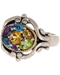 Effy Sterling Silver & 18k Yellow Gold Multi Gemstone Scroll Ring - Size 7 - Blue