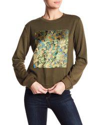 Oober Swank - Crew Neck Foil Floral Hologram Sweater - Lyst