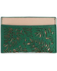 BP. Laser Cut Leaf Faux Leather Card Case - Red