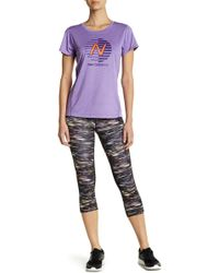 New Balance - Impact Print Capri With Odor Management And Fast Drying Technology - Lyst