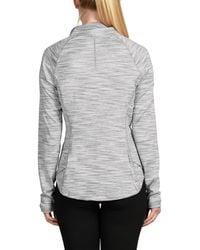 90 Degrees Missy Half Zip Space Dyed Top - Grey