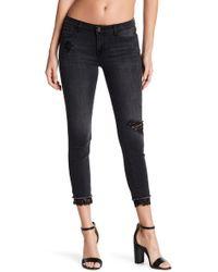Kensie Joplin Distressed Crop Straight Leg Jeans - Black