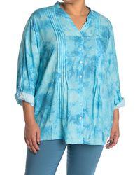 Ruby Rd. Tie Dye Pintuck Pleat Shirt - Blue