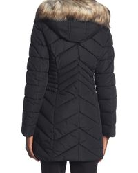 Laundry by Shelli Segal Faux Fur Trimmed Cinched Waist Puffer Jacket - Black