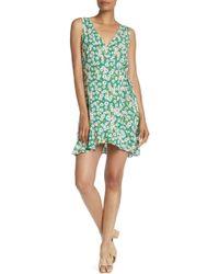 Lush - Sleeveless Floral Print Wrap Dress - Lyst