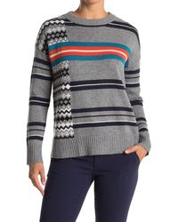 Autumn Cashmere Mixed Stripe Cashmere Pullover Sweater - Gray