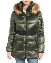 S13/nyc Nicky Quilted Coat With Faux Fur Trim Hood - Green