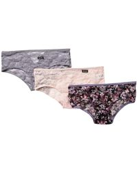 Kensie - Printed Lace Panties - Pack Of 3 - Lyst