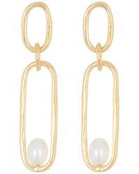 Argento Vivo Hammered Link Pearl Drop Earrings - Metallic