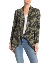 Bobeau Camo Print One Button Cardigan - Green