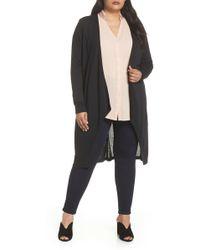 Sejour Longline Jersey Cardigan (plus Size) - Black