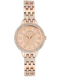 Badgley Mischka Women's Quartz Swarovski Crystal Bracelet Watch, 30mm - Metallic
