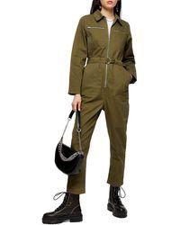 TOPSHOP Utility Boiler Suit - Green