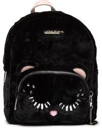 Betsey Johnson Fuzzy Faux Fur School Backpack - Black