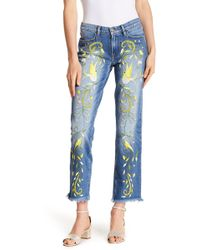 Etienne Marcel - Embroidered Frayed Trim Boot Cut Jeans - Lyst