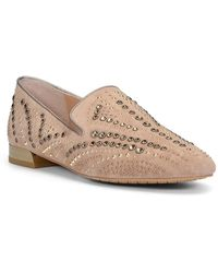 Donald J Pliner Studded Suede Loafer - Natural
