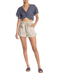 Mustard Seed Striped Paperbag Shorts - Multicolor