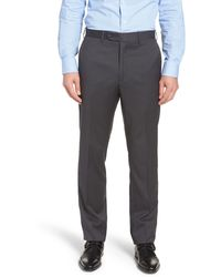 John W. Nordstrom ® Torino Classic Fit Flat Front Solid Dress Pants - Grey