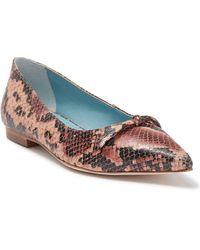 Frances Valentine Paige Snakeskin Embossed Leather Flat - Pink