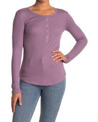 Splendid Long Sleeve Thermal Henley - Purple
