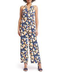 ModCloth Halter Floral Jumpsuit (regular & Plus Size) - Blue