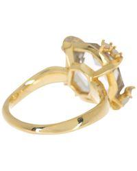 Alexis Bittar Gold Fancy Cut Green Amethyst Ring - Size 7 - Metallic