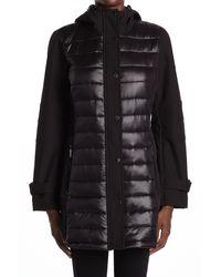 BCBGMAXAZRIA Mixed Media Puffer Jacket - Black