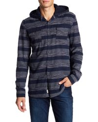 Micros Rattata Long Sleeve Regular Fit Woven Flannel With Fleece Hood - Blue