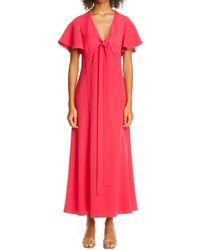 ADEAM Flutter Sleeve Tie Bodice Crepe Maxi Dress - Multicolor