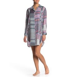 Josie Lotus Boquet Satin Sleep Shirt - Multicolour