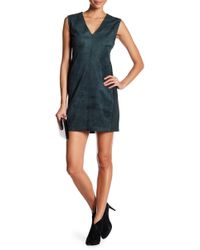 BCBGMAXAZRIA - V-neck Sleeveless Faux Suede Dress - Lyst