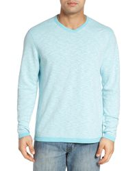 Tommy Bahama Seaglass Reversible V-neck Pullover - Blue