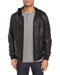 Calibrate - Hooded Leather Jacket - Lyst