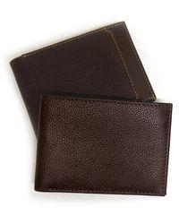 Boconi Leather Slimster Wallet In Cognac At Nordstrom Rack - Brown