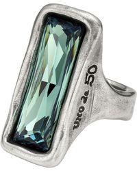 Uno De 50 - Micron Silver Aurora Borealis Baguette-cut Swarovski Crystal Ring - Lyst