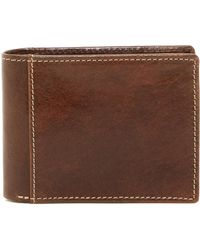 Bosca - Small Bifold Leather Wallet With Id - Lyst