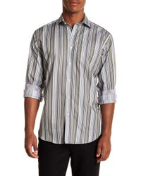 Thomas Dean - Multistripe Long Sleeve Sport Fit Shirt - Lyst