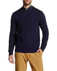 Barque - Crew Neck Cable Knit Sweater - Lyst