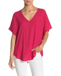 Lush Dolman Sleeve V-neck T-shirt - Pink