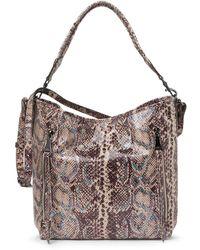 Aimee Kestenberg Snakeskin Print Leather Hobo Bag In Mystic Snake At Nordstrom Rack - Multicolor