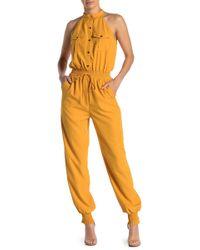 Jealous Tomato Mock Neck Utility Jumpsuit - Yellow