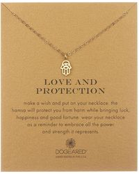 Dogeared - 14k Yellow Gold Vermeil 'love & Protection' Cutout Hamsa Hand Pendant Necklace - Lyst