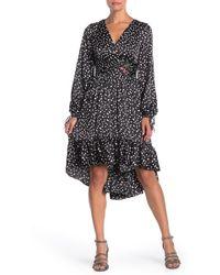 Betsey Johnson Punch Hole Polka Dot Print High/low Dress - Black