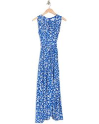 Calvin Klein Ditsy Floral Faux Wrap Dress - Blue