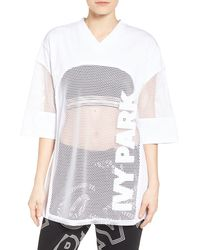 Ivy Park ® Logo Mesh Oversize Tee - White